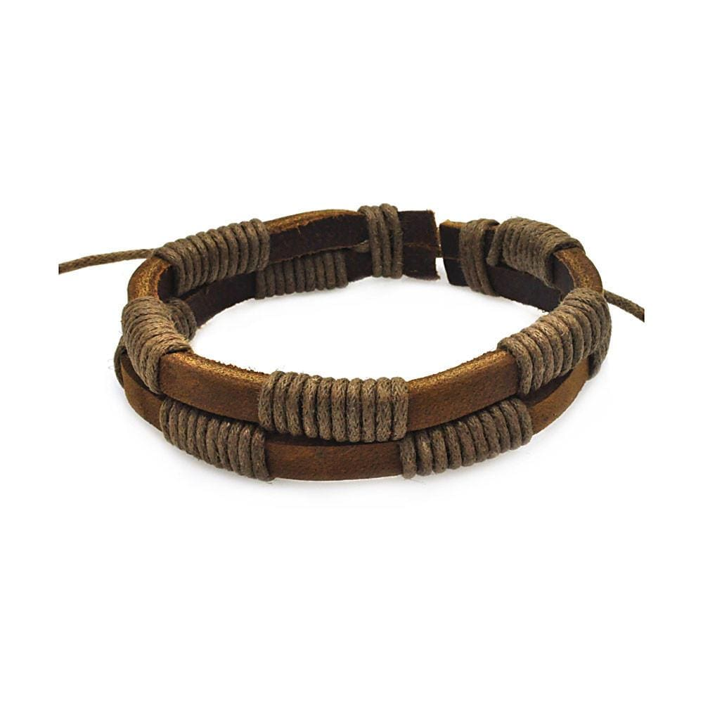 Stainless Steel 316 Brown Leather Bracelet 567-slb00013:
