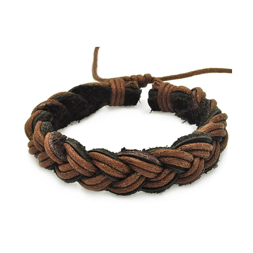Stainless Steel 316 Black Brown Leather Bracelet 567-slb00014: