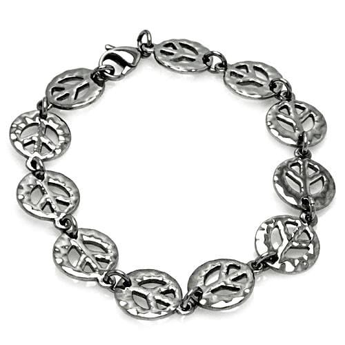 Stainless Steel Peace Sign Link Bracelet: