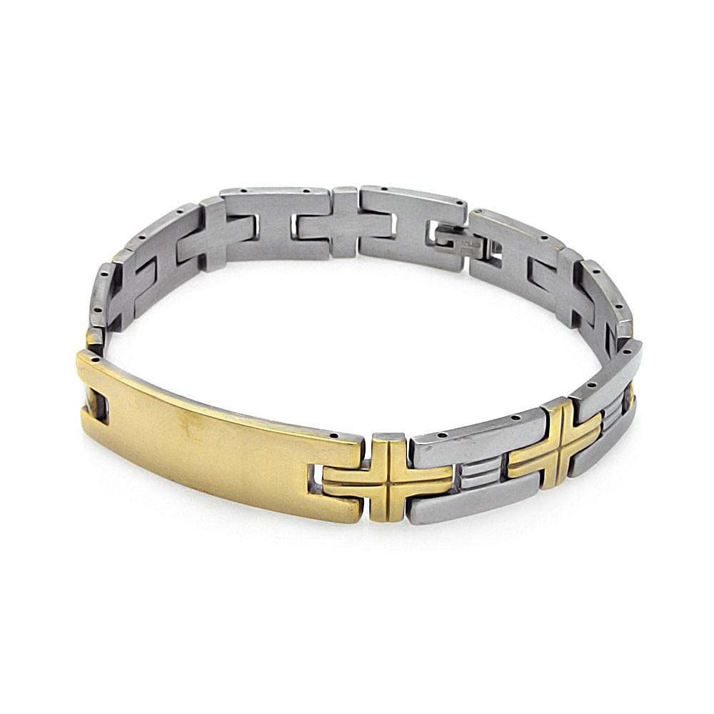 Men's Stainless Steel 316 Cross Link Bracelet  567-ssb00223: