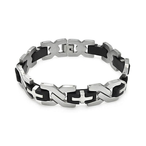 Men's Stainless Steel 316 Cross Link Bracelet  567-ssb00225: