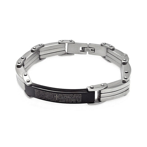 Men Stainless Steel Padre Nuestro Black ID Bracelet: