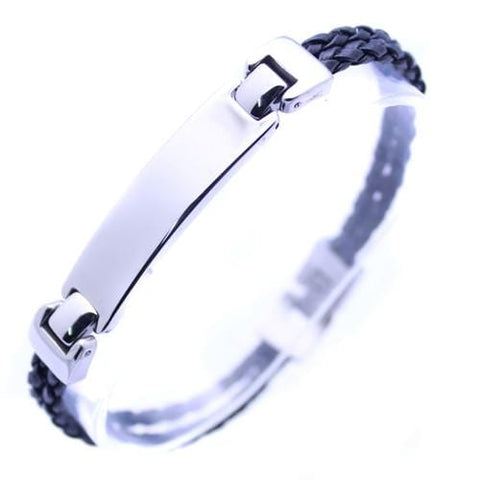Men's Stainless Steel Link Bangle ID Bracelet: