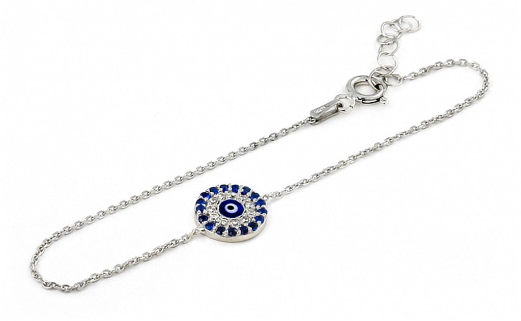 "925 Sterling Silver Clear And Blue Cubic Zirconia Round Bracelet With A Dark Blue Eye Center 6""""+1"""" Adjustable: BRACELET"