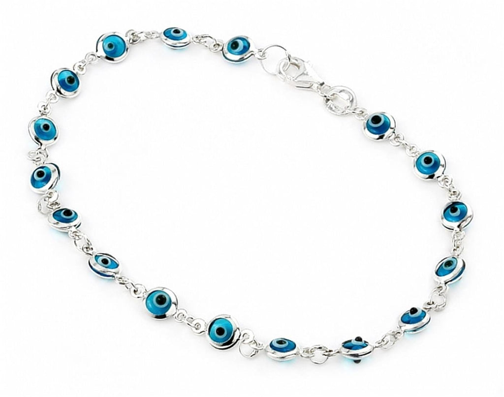 "925 Sterling Silver Light Blue Small Glass Eye Bracelet 7"""": BRACELET"