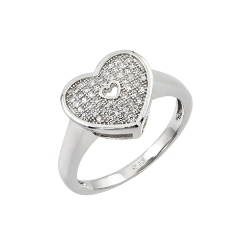 925 Sterling Silver Ladies Jewelry Ring w/ Clear Cubic Zirconia Micro Pave Heart Center.Ring Center Dimensions Are 11.4mm X 12.6mm  Come In Sizes Of 5, 6, 7, 8, And 9.