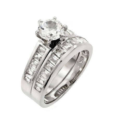 925 Sterling Silver Ladies Jewelry 2 Piece Engagement Ring Set w/ Clear Cubic Zirconia Inlay.Ring Widths Are 4.1mm , And 4.2mm  Come In Sizes Of 5, 6, 7, 8, And 9.