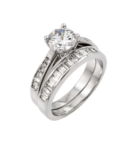 925 Sterling Silver Ladies Jewelry 2 Piece Engagement Set w/ Baguette Clear Cubic Zirconia Stones.Ring Widths Are 3.5mm , 2.4mm  Come In Sizes Of 5, 6, 7, 8, And 9.