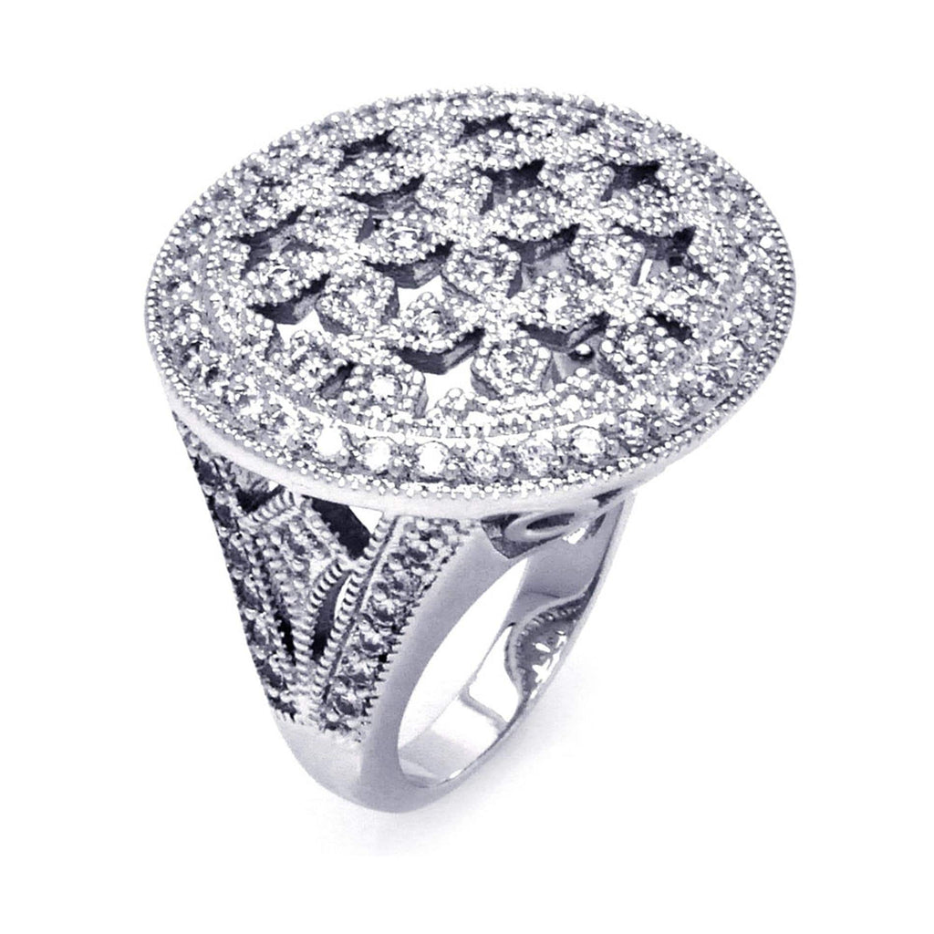 925 Sterling Silver Ladies Jewelry Cross Cut Out Cubic Zirconia Disc Ring