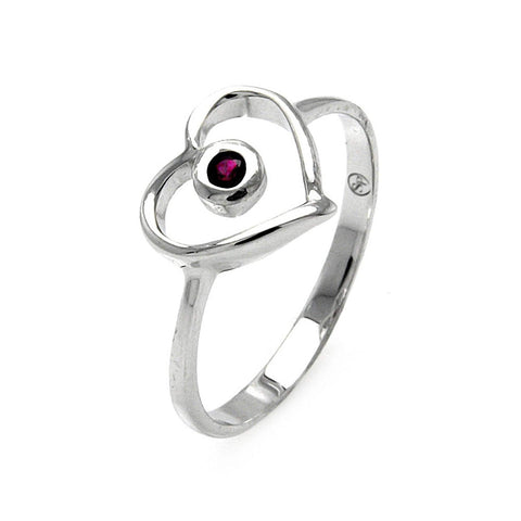 925 Sterling Silver Ladies Jewelry Open Heart w/ Pink Center Cubic Zirconia Stone Ring Measurement: 10mm X 11mm