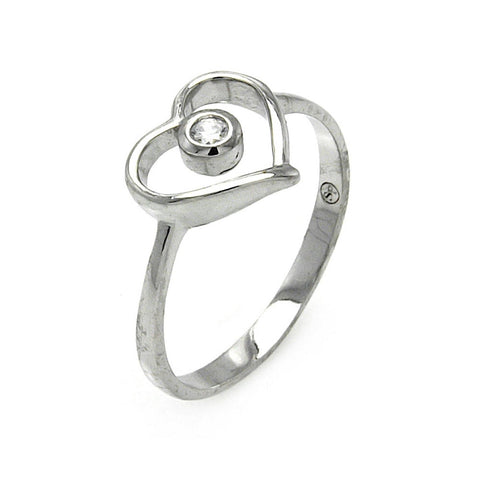 925 Sterling Silver Ladies Jewelry Open Heart w/ Clear Center Cubic Zirconia Stone Ring Measurement: 10mm X 11mm
