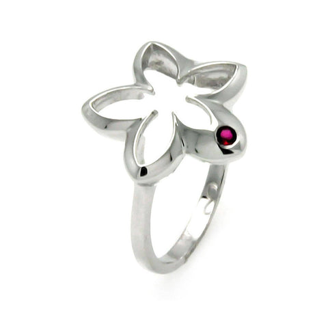 925 Sterling Silver Ladies Jewelry Open Flower w/ Single Red Cubic Zirconia Ring Star Measurement: 16.5mm X 17.2mm