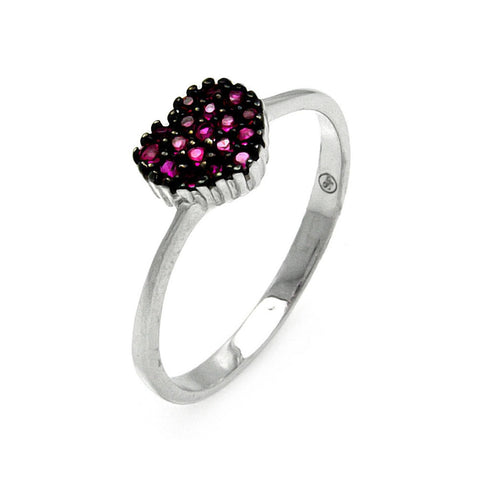 925 Sterling Silver Ladies Jewelry Heart Pink Cubic Zirconia Stone Center Ring Measurement: 6mm X 8mm