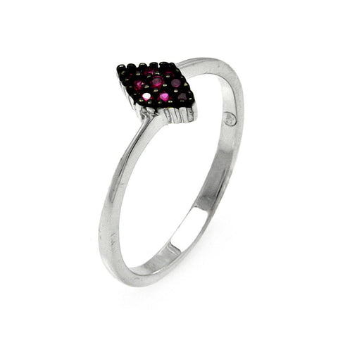 925 Sterling Silver Ladies Jewelry Diamond Shape w/ Pink Cubic Zirconia Stone Ring Measurement: 7.9mm X 5.2mm