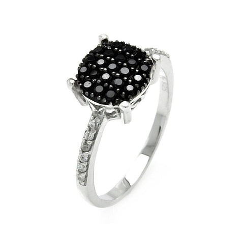 925 Sterling Silver Ladies Jewelry Black Cubic Zirconia Stone Round Center Ring Measurement: 9mm