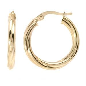 14K Yellow Gold Twisted Hoop Earrings: