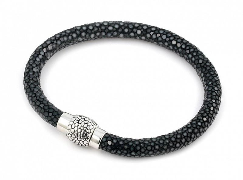 .925 Sterling Silver Nickel Free Hematite Stingray Leather Bracelet With Magnetic Lock: Length 7""""