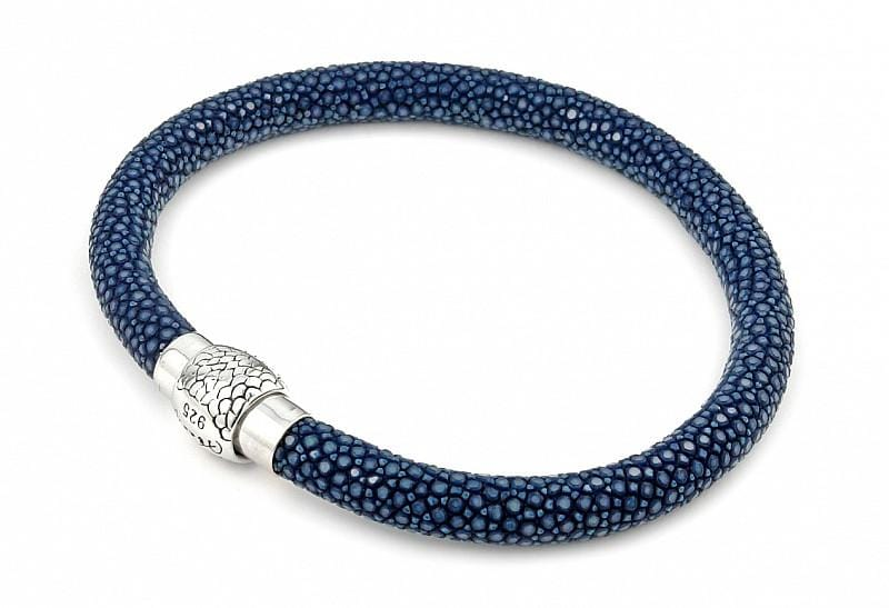 .925 Sterling Silver Nickel Free Dark Blue Stingray Leather Bracelet With Magnetic Lock: Length 7""""