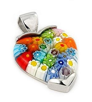 .925 Sterling Silver Multi Color Millefiori Large Heart Pendant: