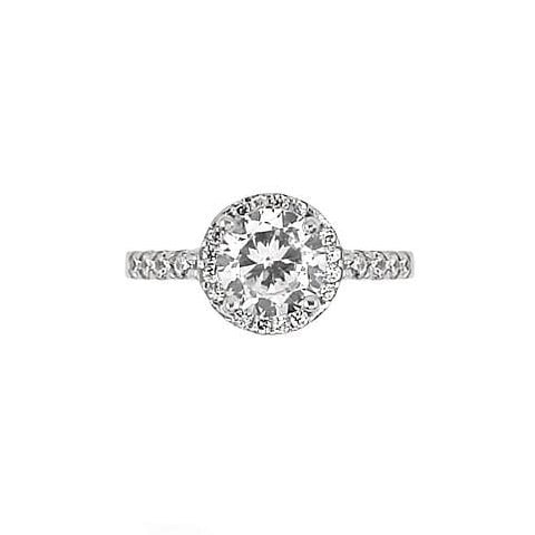 .925 Sterling Silver Nickel Free Rhodium Plated Round Cubic Zirconia Engagement Ring With 8 Cubic Zirconias On Band