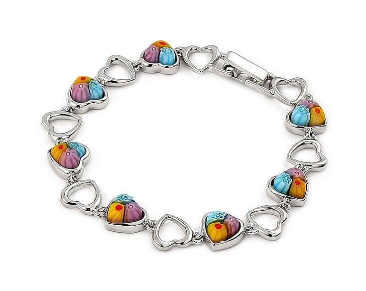 ".925 Sterling Silver Multi Color Millefior Heart Bracelet 7"""":"