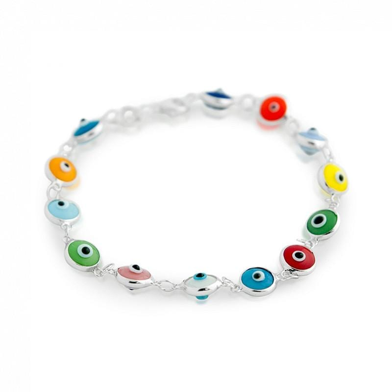 ".925 Sterling Silver Nickel Free 7mm Multi Color Glass Eye Bracelet 7"""": 6.5 Inch"