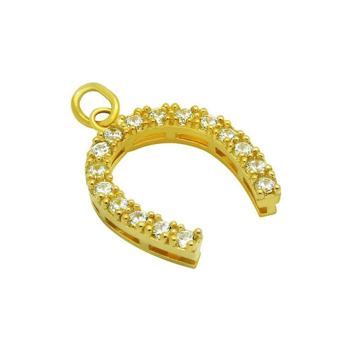 .925 Sterling Silver Nickel Free Gold Plated 14mm Cubic Zirconia Horseshoe Pendant: