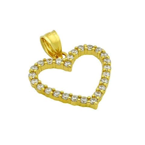 .925 Sterling Silver Nickel Free Gold Plated 17mm Cubic Zirconia Outline Heart Pendant: