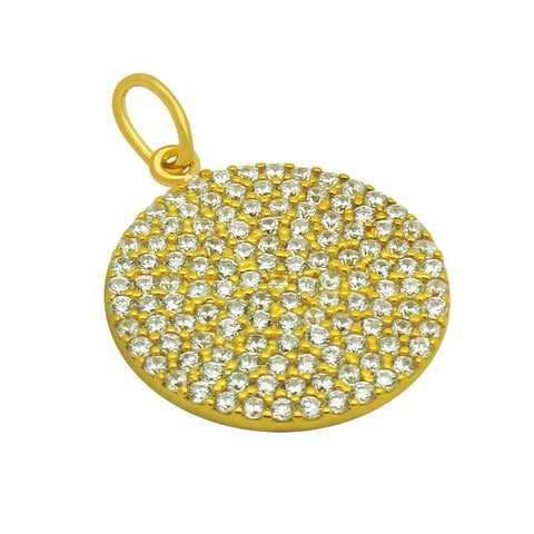 .925 Sterling Silver Nickel Free Gold Plated 17mm Medium Cubic Zirconia Disk Pendant: