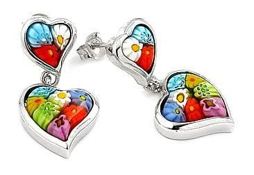 .925 Sterling Silver Double Heart Millefiori Earring - AnaDx Collection