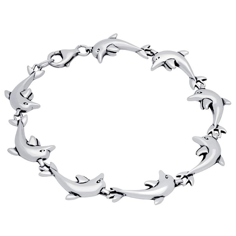 ".925 Sterling Silver Nickel Free Sterling Silver Dolphin Link Bracelet 7"""": Length 7"""""