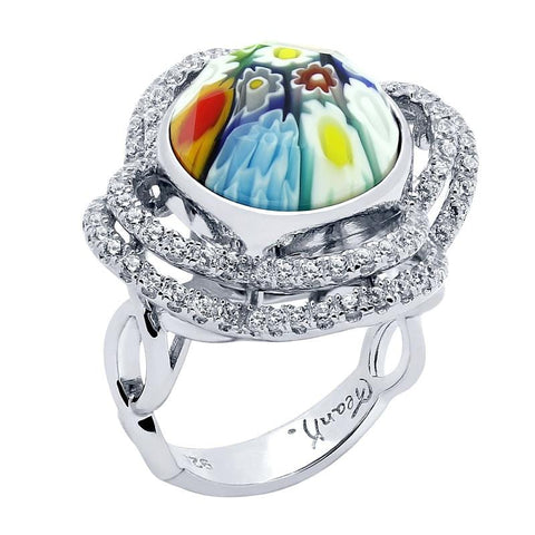 .925 Sterling Silver Multicolor Millefiori Round Ring With Intricate Clover Cubic Zirconia Basket