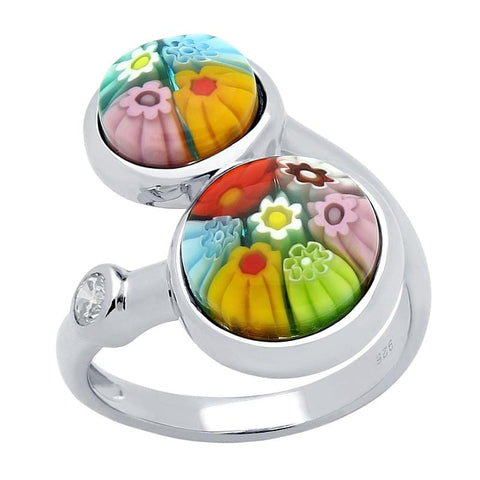.925 Sterling Silver Dual Multicolor Millefiori Round Crossover Ring With Cubic Zirconia - AnaDx Collection