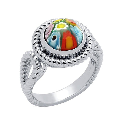 .925 Sterling Silver Multicolor Millefiori Round Split Shank Rope Design Ring