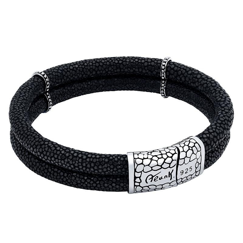 .925 Sterling Silver Nickel Free Black Stingray Leather Duplex Bracelet With Magnetic Lock: Length 7""""