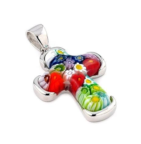 .925 Sterling Silver Multicolor Millefiori Cross Pendant: