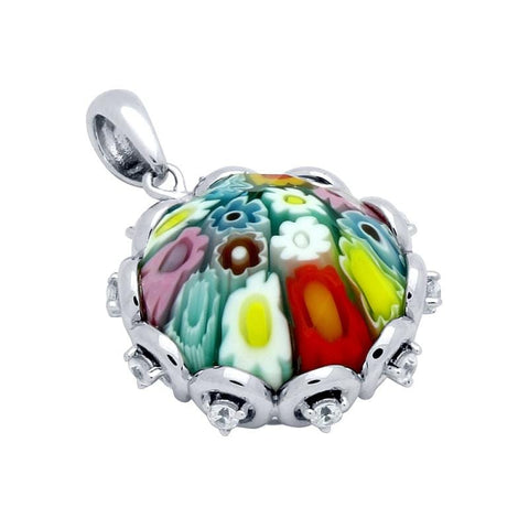 .925 Sterling Silver Multicolor Millefiori Round Faceted Pendant With Cubic Zirconia: