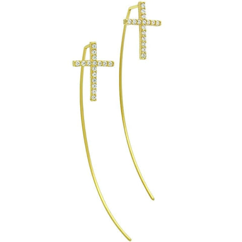 .925 Sterling Silver Gold Plated Slip Through Wire Earrings With 10X14mm Cubic Zirconia Cross: