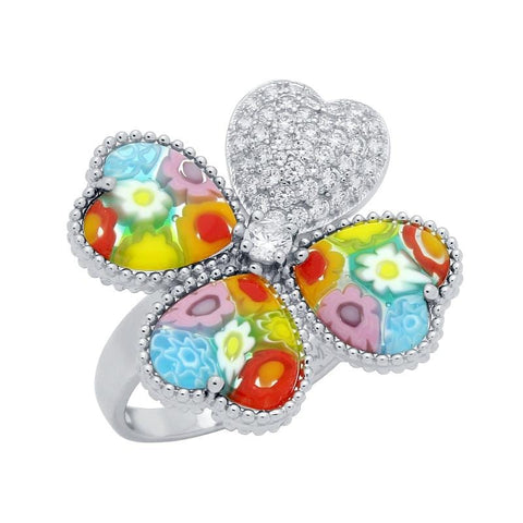 .925 Sterling Silver Multicolor Millefiori Clover Of Hearts Cubic Zirconia Ring