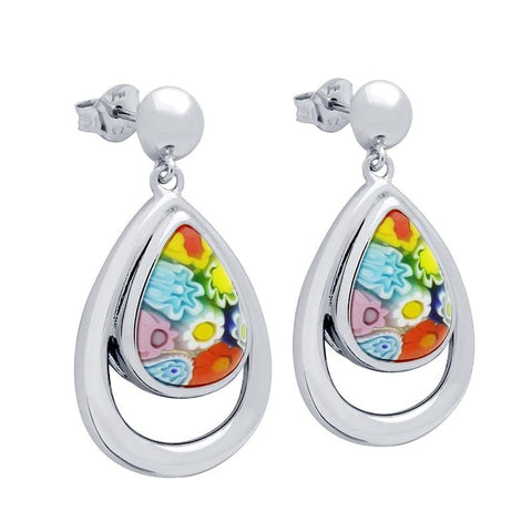 .925 Sterling Silver Multicolor Millefiori Drop Shaped Double Bezel Earrings: