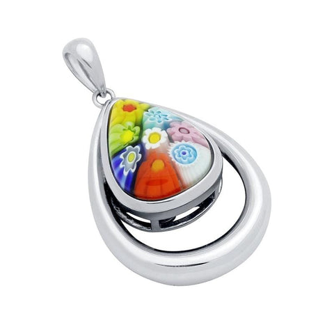 .925 Sterling Silver Multicolor Millefiori Drop Shaped Double Bezel Pendant: