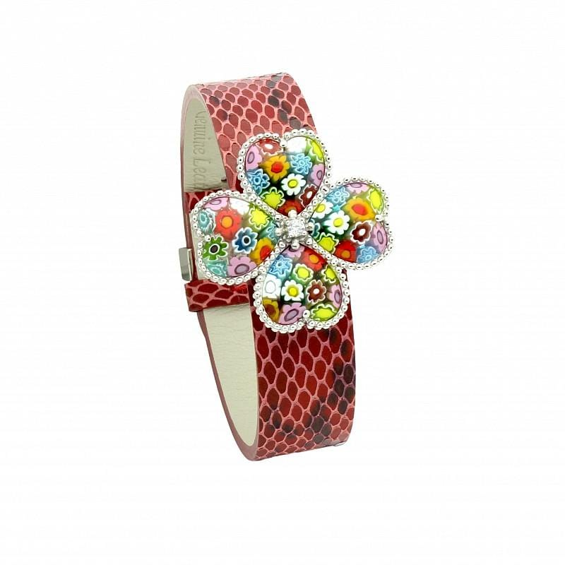 ".925 Sterling Silver Multicolor Millefiori Flower Of Hearts Leather Bracelet 7"""":"