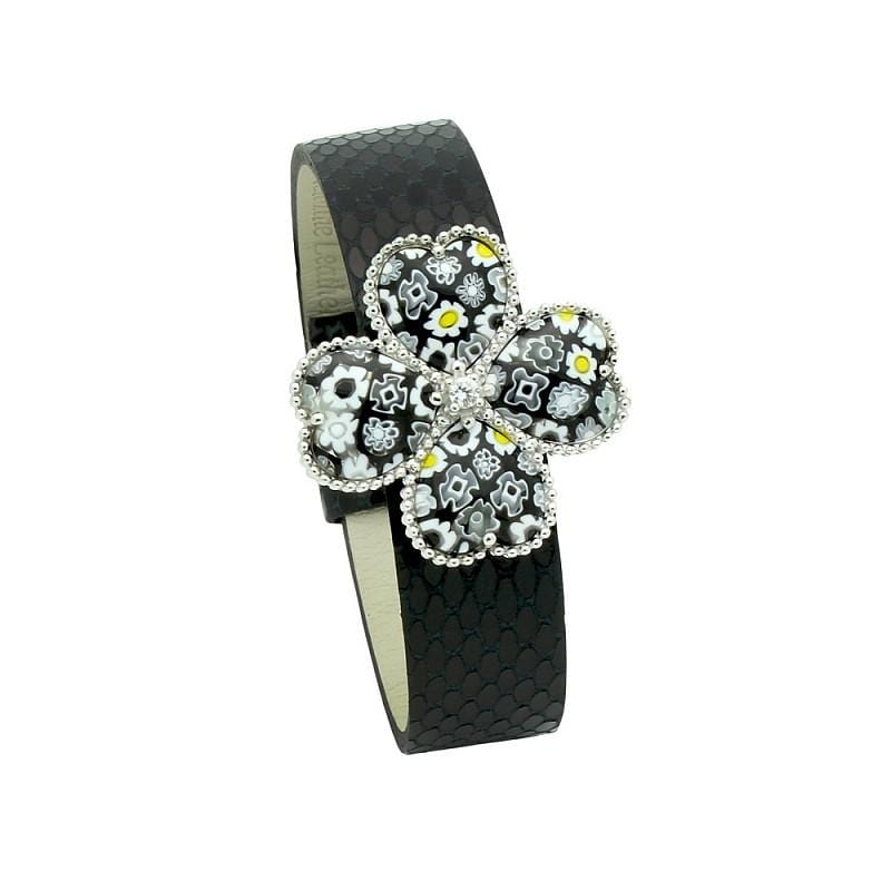 ".925 Sterling Silver Black & White Millefiori Flower Of Hearts Leather Bracelet 7"""" - AnaDx Collection"