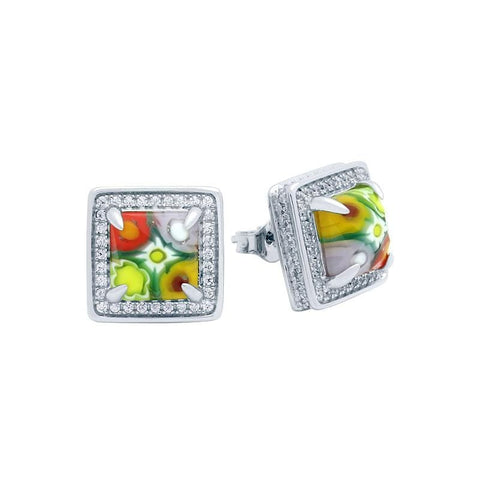 .925 Sterling Silver Multicolor Millefiori 13mm Square Post Earrings With Cubic Zirconia Halo: