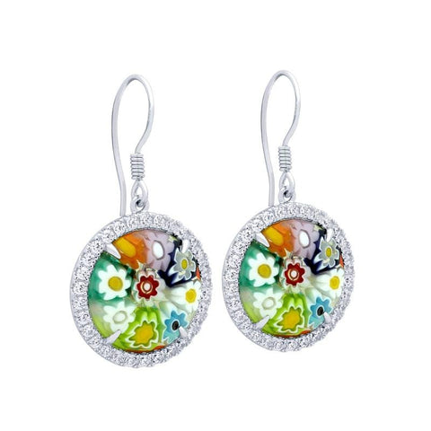 .925 Sterling Silver Multicolor Millefiori Round Fishhook Earrings With Cubic Zirconia Halo: