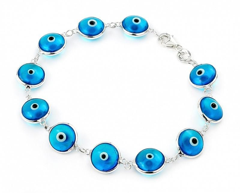 ".925 Sterling Silver Nickel Free 10mm Blue Transparent Glass Eye Bracelet 7"""": Length 7"""""