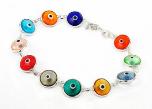".925 Sterling Silver Nickel Free 10mm Multi Color Transparent Glass Eye Bracelet 7"""": Length 7"""""