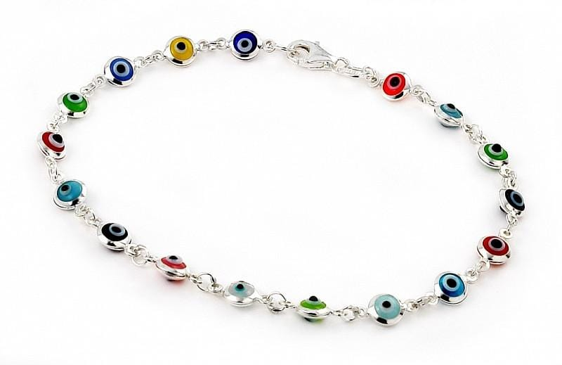 ".925 Sterling Silver Nickel Free 4mm Multi Color Glass Eye Bracelet 7"""": Length 7"""""