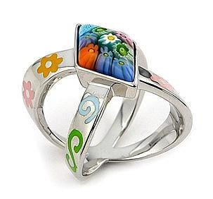 .925 Sterling Silver Multi Color Diamond Shape Millefiori Ring