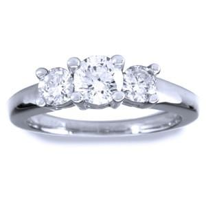0.50 Carat 3-Stone Diamond 14k White Gold Engagement Ring
